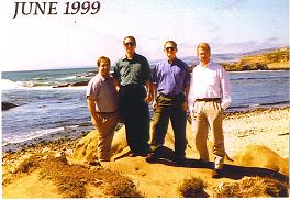 Image of Laurence D. Merkle and three colleagues on the Pacific Coast